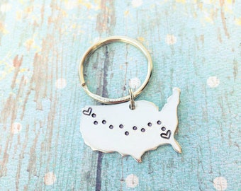 Custom State to State Silver Keychain -  Long Distance Relationship Keychain - Custom Keychain - Going Away Gift - State to State Keychain