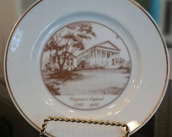 Vintage Virginia's Capitol Commemorative Plate 1788-1988