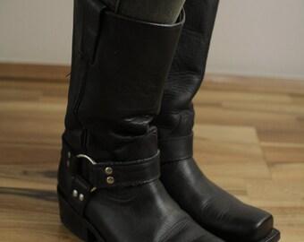 Buffalo Real Vintage Cowboy Moto Boots Real leather 38 Eur 5 UK, USA 7 1/2