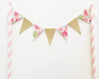 Cake Topper Bunting Floral and Gold Glitter