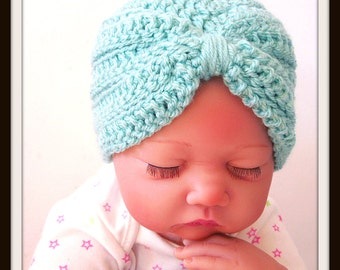 Crochet PATTERN - Baby Turban Hat, Photo Prop, Preemie, Newborn, Infant Girl, Quick and Easy One Skein Project - Instant Download