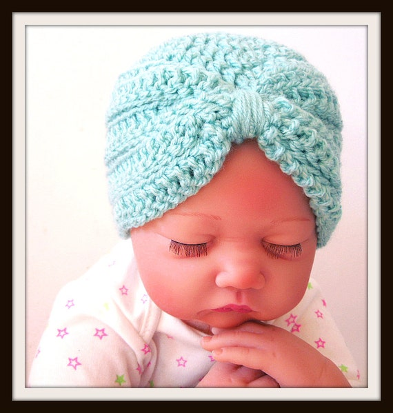 Crochet Pattern Baby Turban Hat Photo Prop Preemie