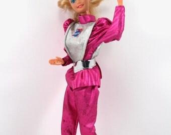 Vintage 1985 Astronaut Barbie by Mattel - shiny metallic pink outfit, 1980s Barbie dolls, 80s toys, Superstar era
