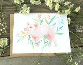 Pig Blank Notecard | Stationery | Watercolor Painting | Greeting Card