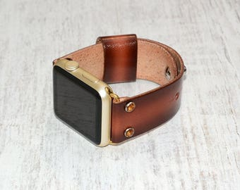 Apple watch band leather // Brown leather apple watch accessories 38mm / 42mm - apple watch strap leather - lugs adapter - iwatch band women