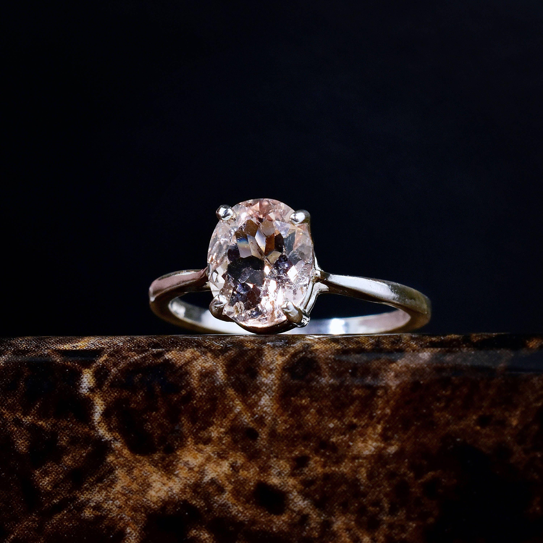 Genuine Morganite Ring, Morganite Engagement Ring, Peach Pink Morganite,  Oval Solitaire, Unique