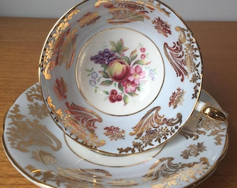 Paragon Fruit Teacup and Saucer, Vintage Light Blue and Gold Tea Cup and Saucer, Bone China, Apples, Grapes and Flowers, Orchard Tea Party