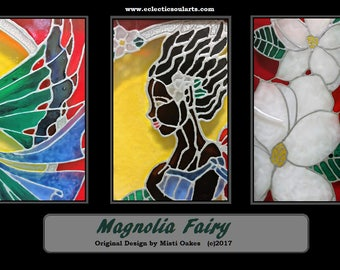 Magnolia Fairy - Original Design   8x10 Hand Painted Glass Window   Stained Glass Window   Suncatcher   Faux Stained Glass