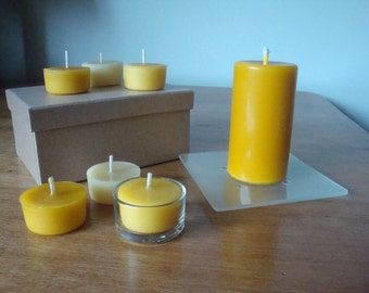 Pure Beeswax Candle and Six Tealights in gift box