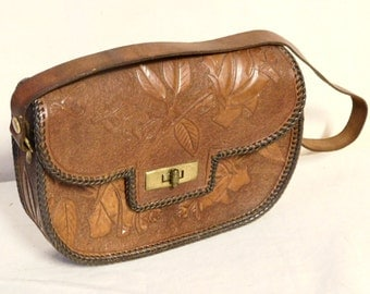 Small hand tooled purse with roses
