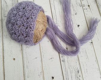 Baby Girl Bonnet, Newborn Bonnet, Mohair Bonnet, Newborn Baby Bonnet, Bonnet Photo Prop, Mohair Baby, Lacy Bonnet, READY 2 SHIP