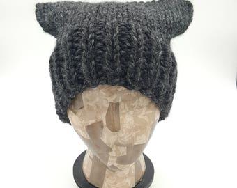 Pussycat Hat, Pussy Cat Hat, Handmade Beanie, Chunky Pussycat Hat, Gray Pussycat Hat, Pussy Hat, Knit Pussycat Beanie, Knit Pussycat Hat