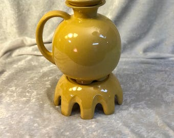 Frankoma Mayan Pitcher yellow coffee carafe with warmer