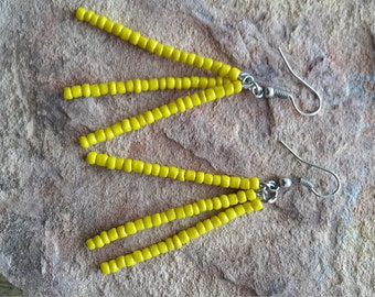 Simple earrings dangle drop earrings stick/stylish/fashion/modern/elegant/light/spring/summer/minimalist/beach/spring break/yellow/earrings