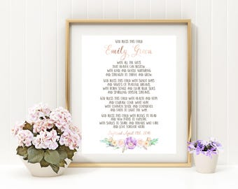 Dedication Girl gift First Communion Baptism Girl gift Baby Name Sign Personalized Blessing print Girl bible virse Christening Gift idb79