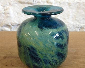 Vintage Mdina Swirl Glass Bud Vase / Paperweight. Swirl Design Very Interesting and Collectible Style.