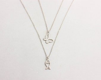 Butterfly Necklace, White Gold Butterfly Necklace, Fish Necklace, White Gold Fish Necklace, Dainty Gold Necklace, Minimalist Necklace GN0336