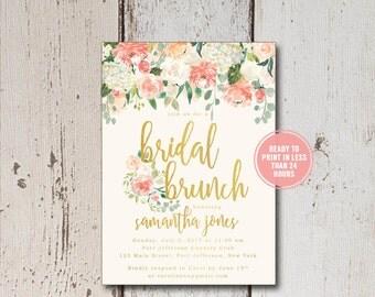 Bridal Shower Invitation, Printable Bridal Shower Invitation, Floral Bridal Shower Invitation, Bridal Recipe Cards, Bridal Inserts Download