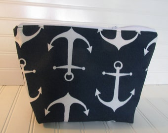 Nautical Cosmetic Bag Make Up Bag Zippered Pouch Anchors Nautical Wedding