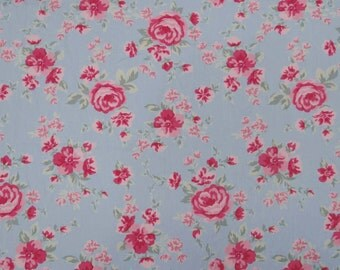 """Quilting Cotton Fabric, Floral Print, Light Blue Fabric, Decor Fabric, Dress Material, Sewing Craft, 41"""" Inch Fabric By The Yard ZBC7154A"""