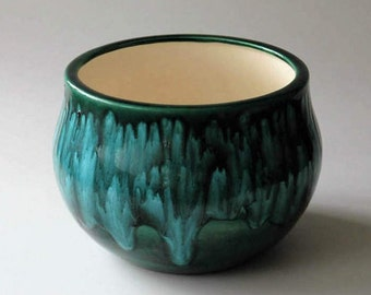 Arnel's ceramic planter with green and blue glaze