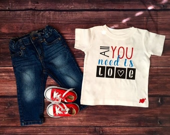 Valentine's Day Infant Bodysuit or Toddler Shirt | Valentines Day Boy | All You Need is Love   | Valentine Boy Toddler Shirt