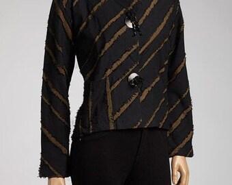 Rag Land Short, Black & Bronze Textured Blouse FA11-4018