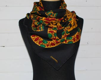 "CHANEL Scarf - Authentic Vintage Chanel Black/Gold / Multicolour 37""x37"" (94cmx94cm) SILK Square Scarf"