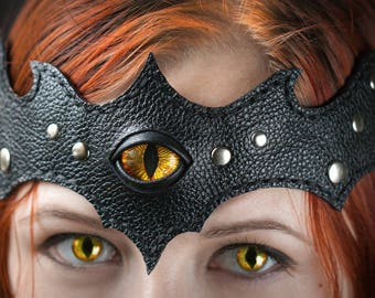 Fantasy Dragon headband with eye, Dragon cosplay forehead strap, Black leather headband, Dragon eye, Fantasy cosplay, Dark crown,