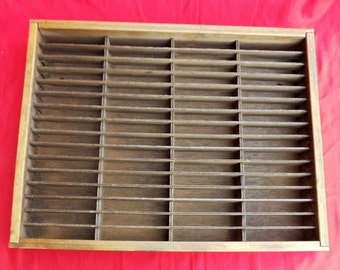 Vintage Napa Valley Box Company Wooden Cassette Tapes & Ink Pads Holder/Storage/Organizer, Collectible 64 Slots/Shelf Wall Hanging Display