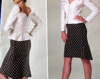Vogue Pattern, V1296, misses top/skirt, fitted top, boned top, long sleeve top, semi-fitted lined skirt with godet, sz: 16, 18, 20, 22, 24
