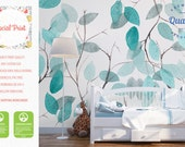 Turquoise Leafs wallpaper | Soft and elegant wall mural | White, watercolor wallpaper | FREE SHIPPING