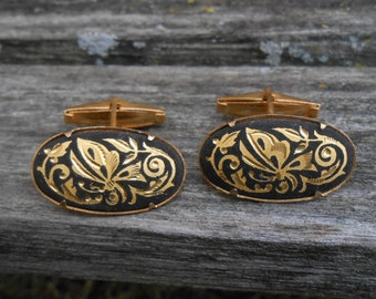 Vintage Damascene Butterfly Cufflinks. Gift For Groomsmen, Groom, Dad, Husband.