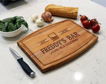 Personalized Cutting Board, Custom Cutting Board, Engraved Cutting Board, Monogrammed Board, Custom Wedding Gift --CBA-MAH-FREDDYSBARCLASSIC