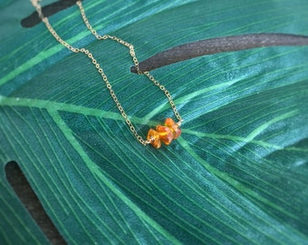 14k gold filled sterling silver tiny natural polished Baltic amber chip bead bar necklace / bridesmaid necklace / dainty / minimalist