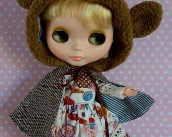 Kawaii Seamstress Bear Dress Set * Blythe * Pullip *