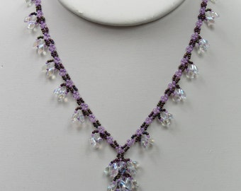 Blooming Vine Necklace in Purple and Clear Beads