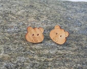Teddy Bear Earrings, Fun Earrings, Button Earrings, Birthday Gifts, Cristmas Gifts, Handmade Button Earrings, Childrens Earrings