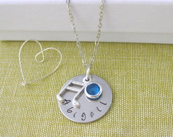 Personalised Jewellery Hand Stamped Name Pendant Birthstone Music Charm Necklace Silver plated Chain Gift UK Seller