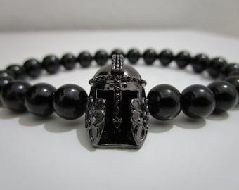 Black tourmaline bracelet, espartan bracelet, bracelet for man, black tourmaline, Spartan helmet, Gladiator bracelet, gift for man