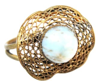 Halo Cabochon Ring | Vintage Jewelry | Statement Ring | Unusual Antique Jewelry | Vintage Ring | Filigree Jewelry