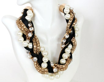 Choker Necklace, Black Choker, Statement Pearl Necklace Set, Chunky Necklace, Braided Pearl, Lace Necklace, Gold Twisted Chain Necklace,
