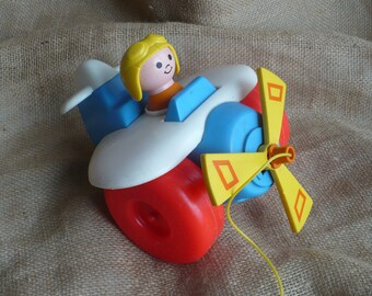 Vintage Fisher Price Airplane Toy, Vintage Pull Along Toy