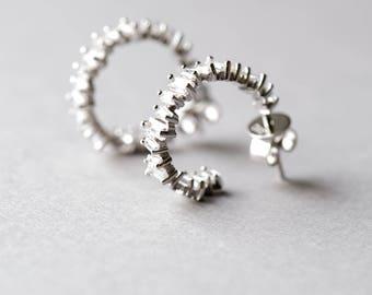 Square Cut Hoop Earrings, Rose Gold Earrings, 925 Sterling Silver, Baguette Earrings, Bridal Jewelry, Silver Earrings, Rose and Choc