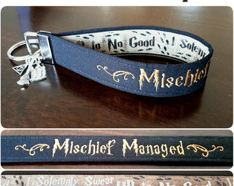 Embroidered Mischief Managed - Marauders Map Key Fob/Wristlet with Charms - Black