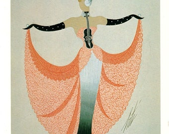 Erte Second Version Walzertraum Print  1920 Art Deco Dress Design Fashion Theatrical Haute Couture Costume Striking  Decorative Wall Hanging