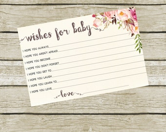 Wishes For Baby Card Baby Shower, Wishes for Baby Cards Printable,  Baby Shower Games, 4x6, Instant Download.