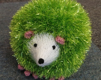 Hand Knitted Medium Size 20cm Hedgehog in Sparkly Citrus Lime Green Tinsel Wool