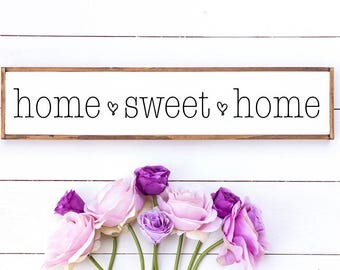 Home sweet home // home sweet home wood sign // home wood sign / home decor // rustic wood signs