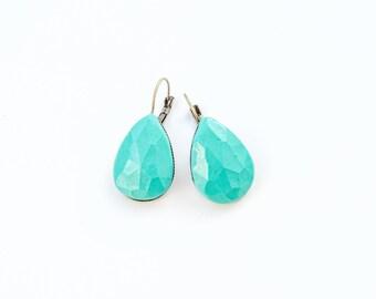Mint Earrings Mint Jewelry Cute Drop Earrings Pastel Earrings Mint Green Earrings Teardrop Mint Drop Earrings Mint Bridesmaid Jewelry